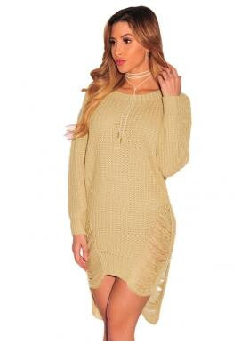 Ripped Knit Long Sleeves Sweater Dress - Ashlays - 5