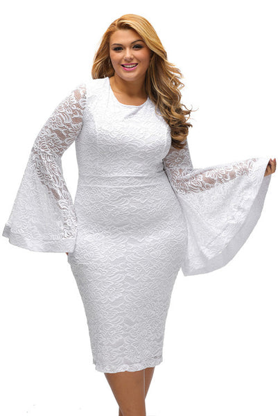 Plus Size Bell Sleeves Lace Dress - Ashlays - 3
