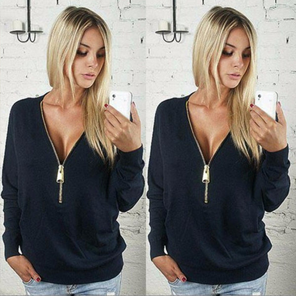 New V-neck Zipper Top - Ashlays - 1