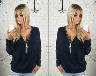 New V-neck Zipper Top - Ashlays - 2
