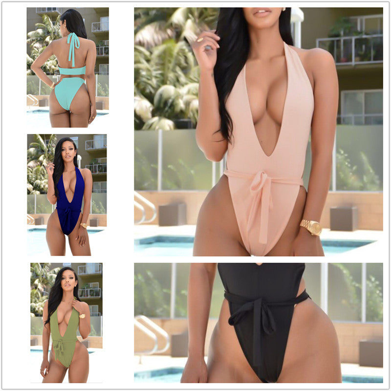 One Piece Tie Up Bodysuits Swimwear