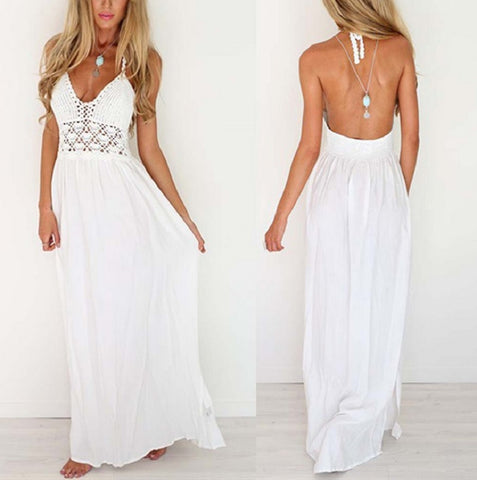 White Backless Long Maxi Sundress