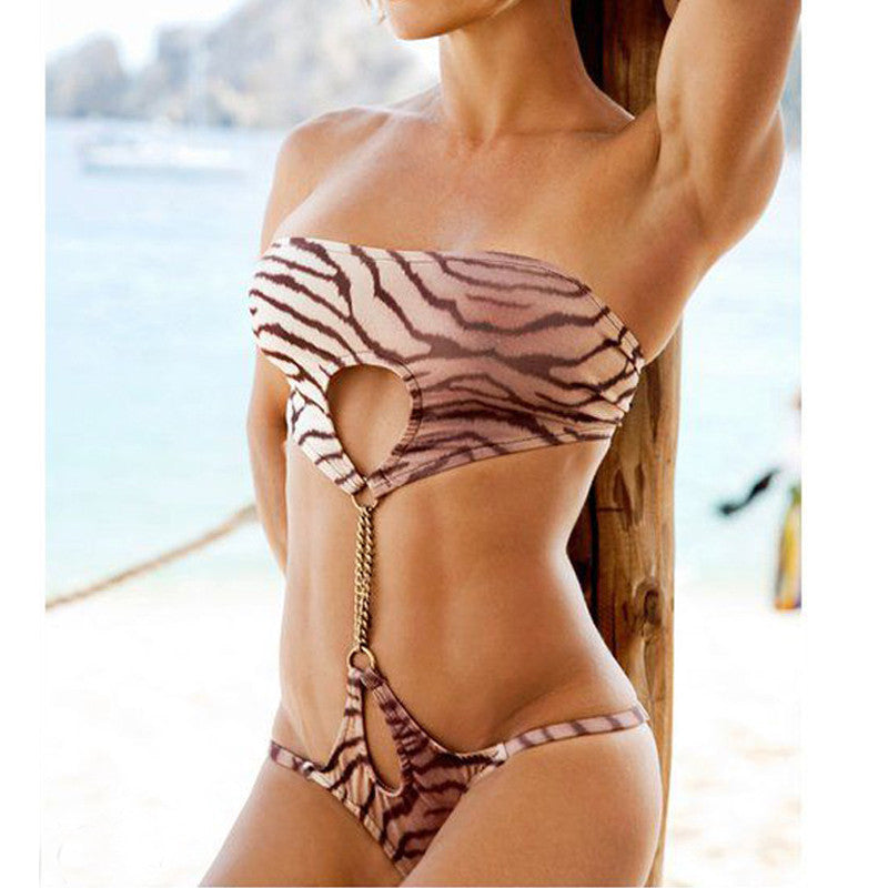 Leopard Print Cut Out Wrap Monokini Swimsuit - Ashlays