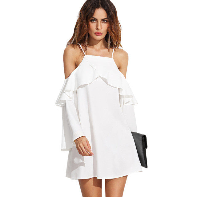 Casual Plain White Ruffle Trim Short Dress