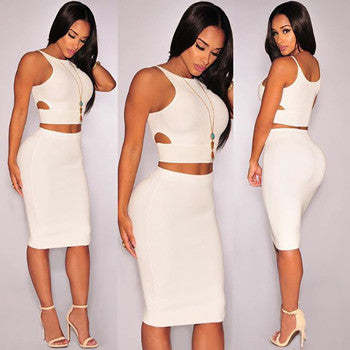 Two Piece Women Dress Crop Top and Skirt Set
