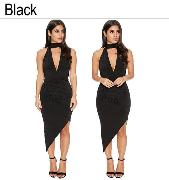 Deep V-neck Halter Bandage Dress