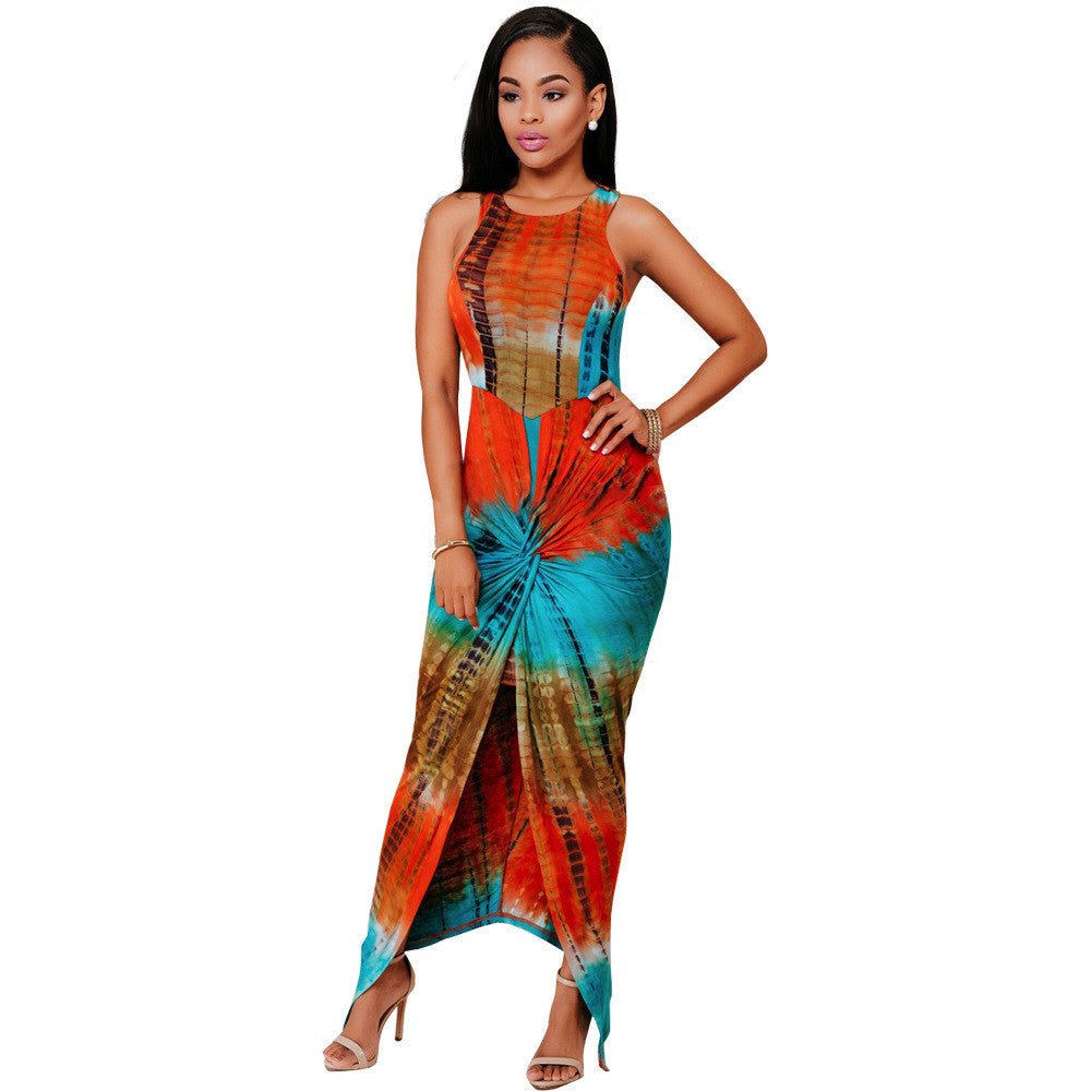 Tie Dye Bodycon Maxi Dress