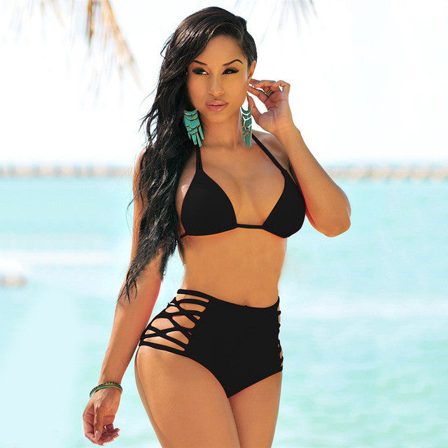 High Waist Women Swimwear Trikini