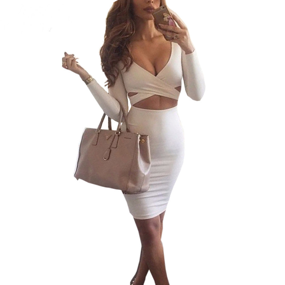 Long Sleeve V-neck Sexy Bodycon Dress - Ashlays