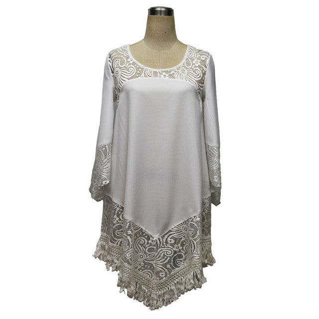 Mini Lace Embroidery Casual White Beach Dress