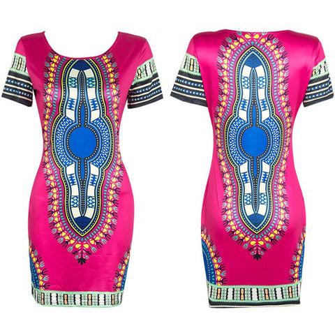African Print Dashiki Mini Dress - Ashlays - 1