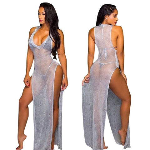 Gray Mesh Cover Up Swimsuit Dress
