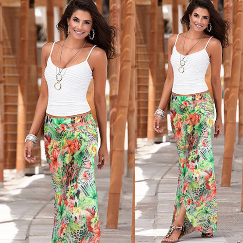 High Waist Casual Fitted Long Skirt