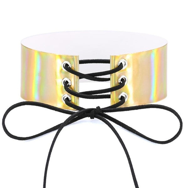 Lace up Holographic Choker