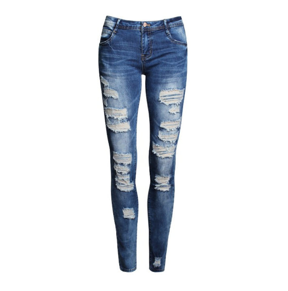 Ladies Denim Bleach Ripped Skinny Jeans - Ashlays - 2