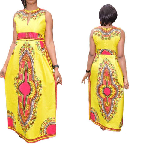 Sleeveless African Tribal Floral Print Ankle-Length Dress