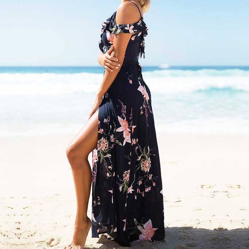 V Neck Ruffle Split Floral Printed Maxi Dress