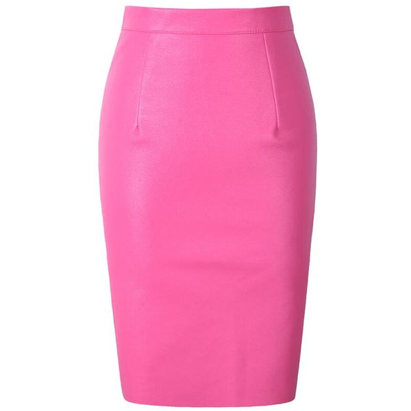 Faux Fur Leather Pu High Waist Pencil Skirt