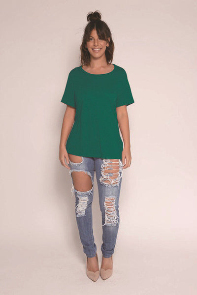 Backless Hollow Out T-shirt