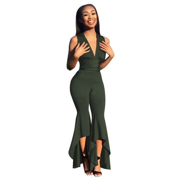 Wide Flare Leg Bodycon Jumpsuit