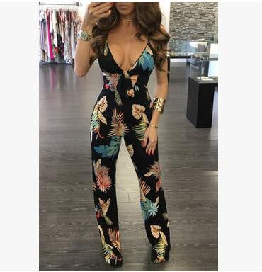 Backless Floral One Piece Romper