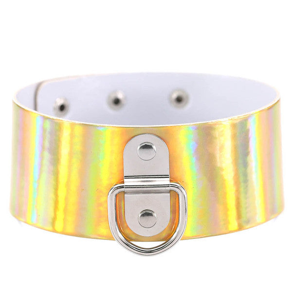 PU Leather Wide Holographic Choker