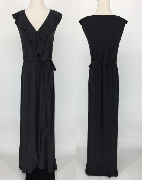 Deep V-neck Ruffles Split Maxi Dress