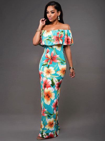 Off Shoulder Long Backless Flower Maxi Dress - Ashlays - 2