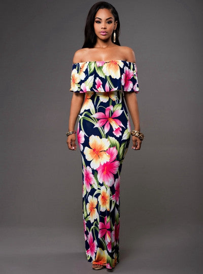 Off Shoulder Long Backless Flower Maxi Dress - Ashlays - 1