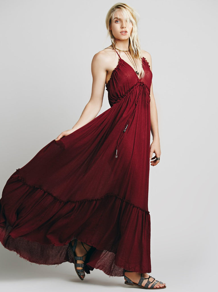 Sexy Red Halter Backless Long Maxi Dress - Ashlays