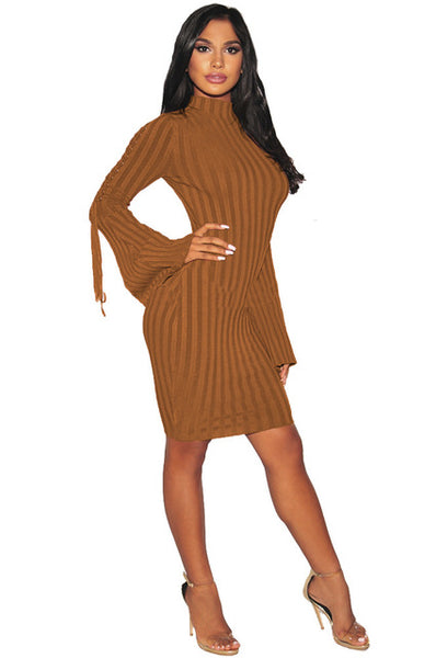 Knitted Long Flare Sleeve Dress