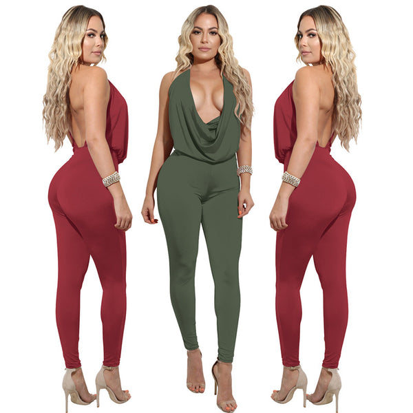 Backless Halter Bodycon Jumpsuits