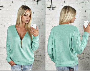 New V-neck Zipper Top - Ashlays - 4
