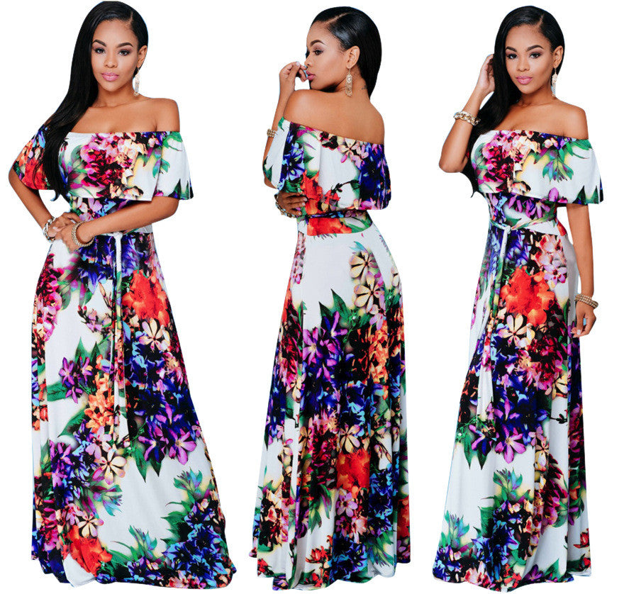 Off The Shoulder Printed Long Dress - Ashlays