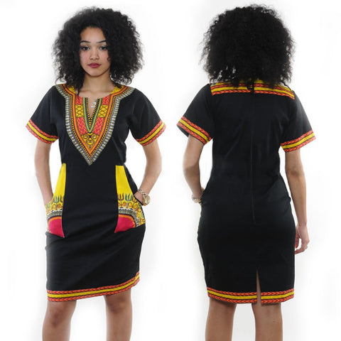 African Black Pint Dress - Ashlays