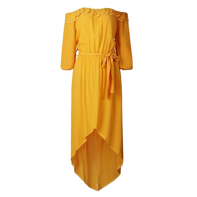 Yellow Off Shoulder Long Sleeve Maxi Dress
