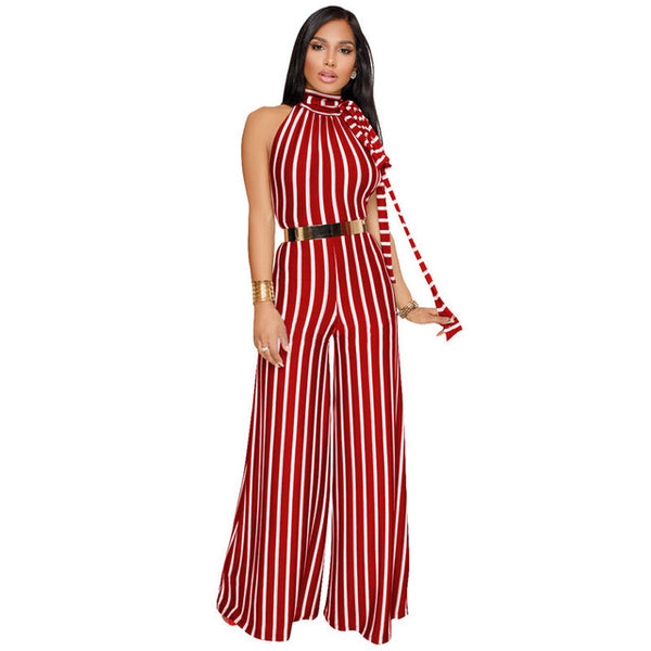 Casual Backless Striped Jumpsuit
