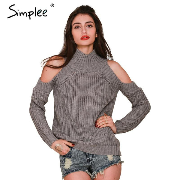 Turtleneck Off Shoulder Knitted Sweater - Ashlays - 2