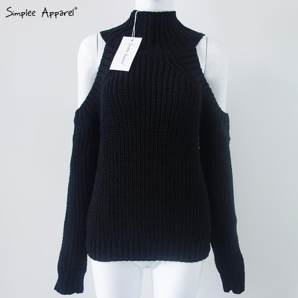 Turtleneck Off Shoulder Knitted Sweater - Ashlays - 4