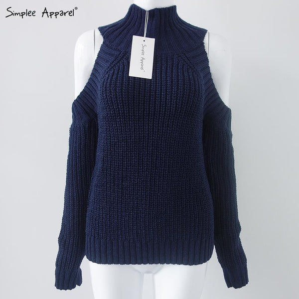 Turtleneck Off Shoulder Knitted Sweater - Ashlays - 3