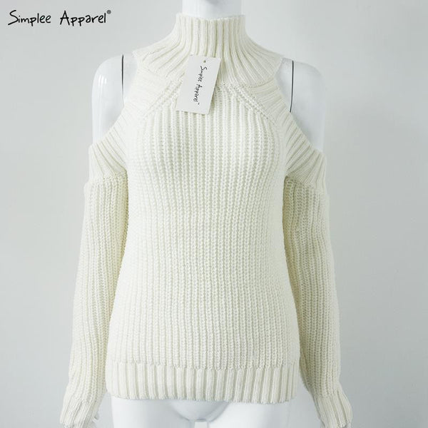 Turtleneck Off Shoulder Knitted Sweater - Ashlays - 9