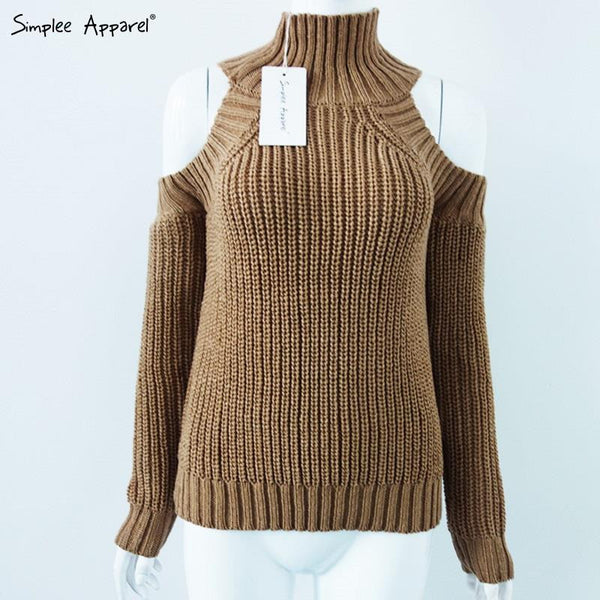 Turtleneck Off Shoulder Knitted Sweater - Ashlays - 8