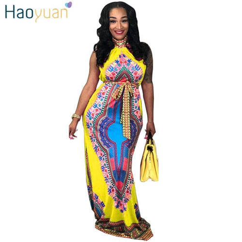 Dashiki Print Long Maxi Dress