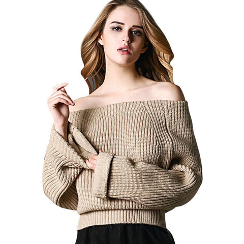 Women Slash Neck Knitted Pullovers Sweater - Ashlays - 1