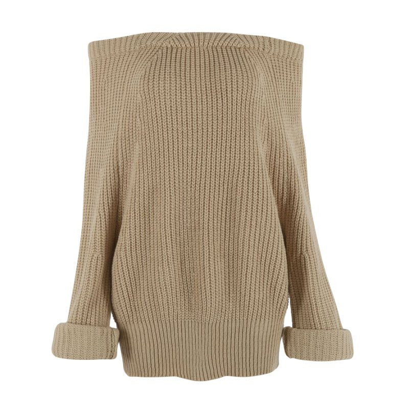 Women Slash Neck Knitted Pullovers Sweater - Ashlays - 3