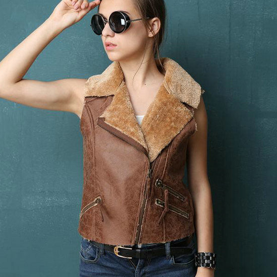 Faux Suede Fur Vest - Ashlays - 1