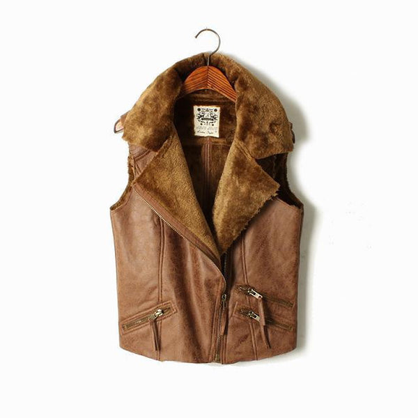 Faux Suede Fur Vest - Ashlays - 3