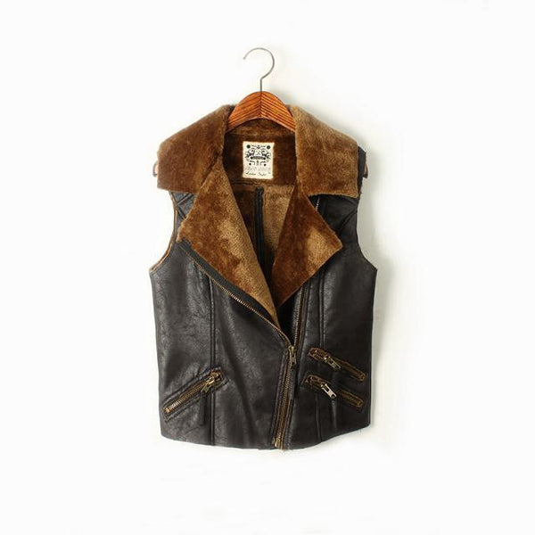 Faux Suede Fur Vest - Ashlays - 2