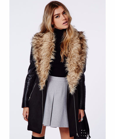 Women's Faux Leather Coat Lined with Vogue Faux Fur - Ashlays - 1