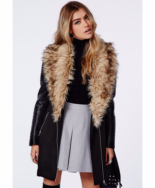 Women's Faux Leather Coat Lined with Vogue Faux Fur - Ashlays - 2